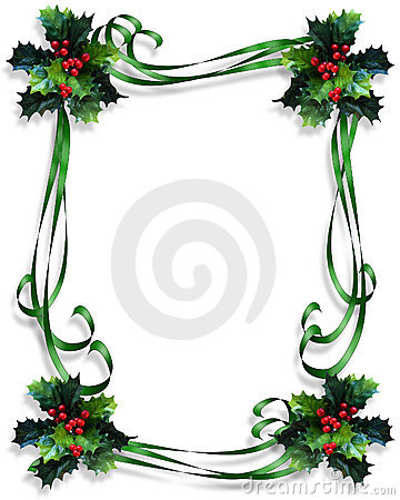 Christmas Border Holly and ribbons frame