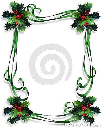 Christmas Border Holly and ribbons frame