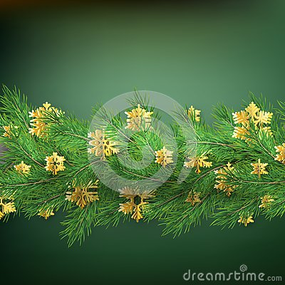 Christmas border made of realistic looking pine branches with gold foil snowflakes on green. EPS 10 Vector Illustration