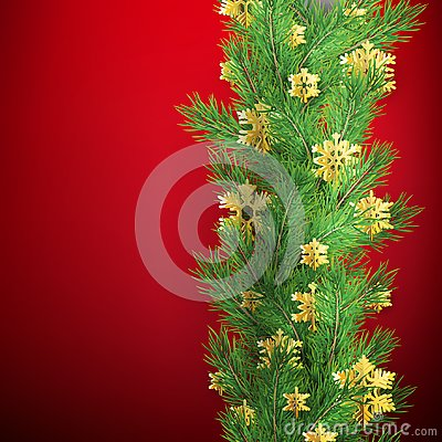 Christmas border made of realistic looking pine branches with gold foil snowflakes on red. EPS 10 Vector Illustration