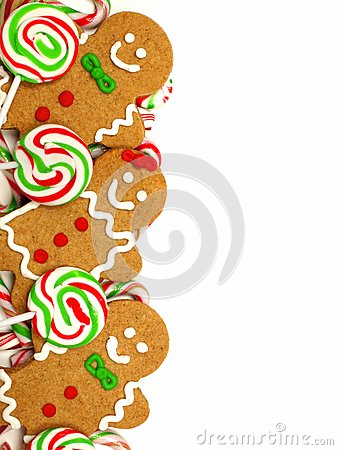 Free Christmas Border Of Gingerbread Men And Candies Stock Images - 61716904