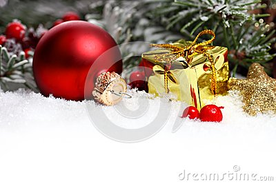 Christmas border with ornament, present and snow