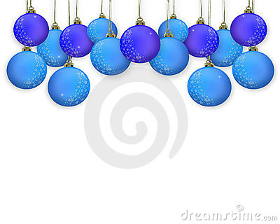 Christmas Border ornaments blue