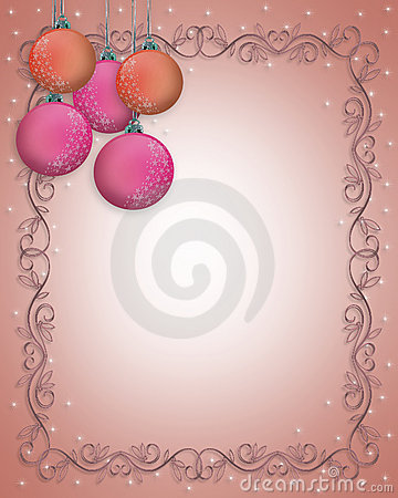 Christmas Border ornaments Pink