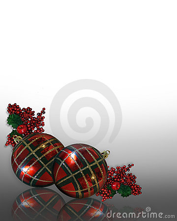 Christmas Border ornaments plaid