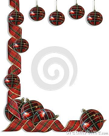 Christmas Border plaid Ribbons and balls