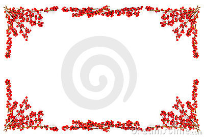 Christmas Border With Red Berries Royalty Free Stock