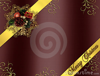 Christmas Border Ribbons burgundy