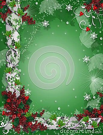Christmas Border Ribbons Elegant Holly Royalty Free Stock