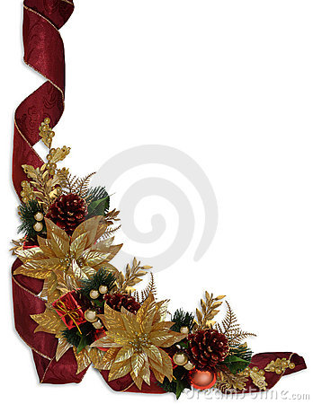 Christmas border ribbons gold poinsettias