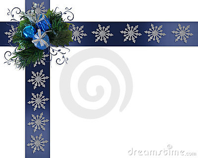 Christmas border Snowflakes on blue ribbons