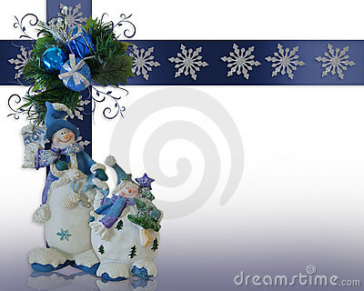 Christmas border Snowman background