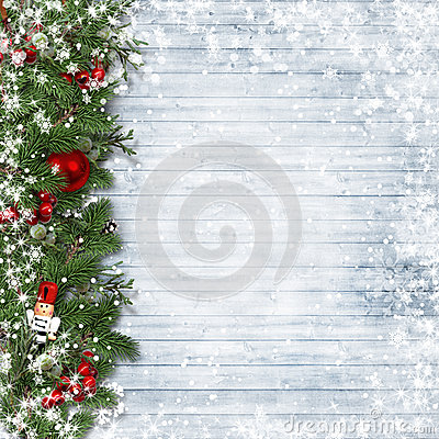 Free Christmas Border With Holly And Nutcracker On Vintage Wood. Royalty Free Stock Photography - 63136747