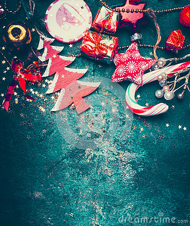 Free Christmas Border With Red Decoration, Christmas Tree And Candy On Dark Blue Vintage Background, Top Royalty Free Stock Photography - 80468107