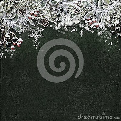 Free Christmas Border With Snowy Fir Branches, Holly, Cone On Dark Ba Stock Photos - 105281183