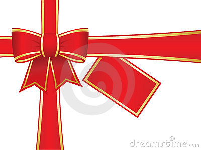 Christmas bow and ribbons with blank gift card