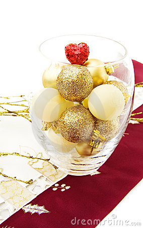 Christmas bowl with golden baubles