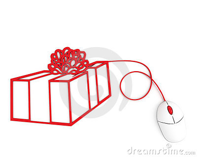 Christmas box depicted with computer mouse cable