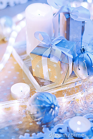 Christmas Box Gift in Blue Gold light