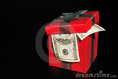 Christmas box with money
