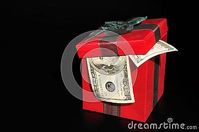 Christmas box with money