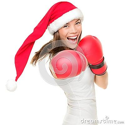 Christmas boxing woman