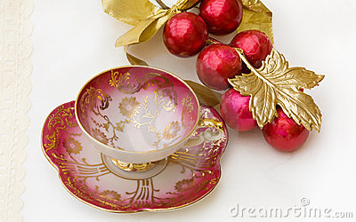 Christmas breakfast teacup with clipping path