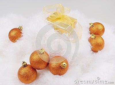 Christmas brightly golden spheres
