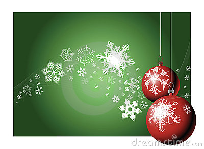 Christmas bulbs with snow