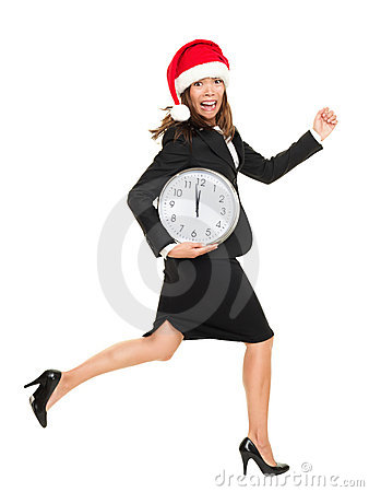 Christmas business woman running against time