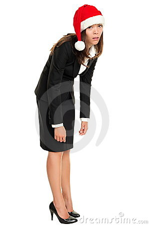 Christmas business woman tired wearing santa hat