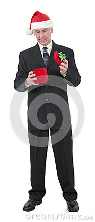 Christmas Businessman Smile, Open Present, Isolated