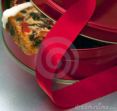 Christmas cake and red ribbon