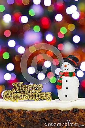 Christmas cake and snowman