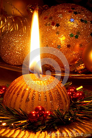Christmas Candle Card - Stock Photo