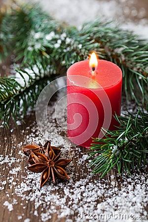 Christmas candle and fir