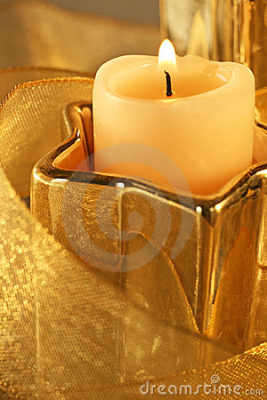 Christmas Candle Gold Stock Image - Image: 15224461
