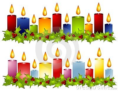 Christmas Candle Holly Wreath Borders