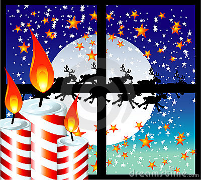 Christmas Candle Moon Light Window