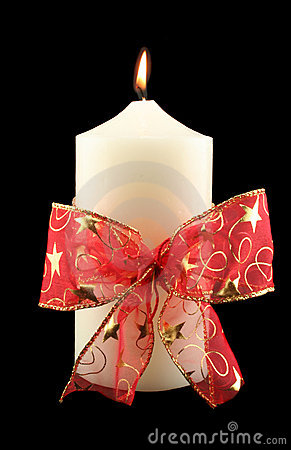 Christmas Candle With Red Bow