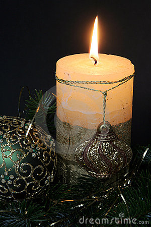 Christmas candles and balls ornaments
