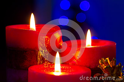 Christmas candles close up