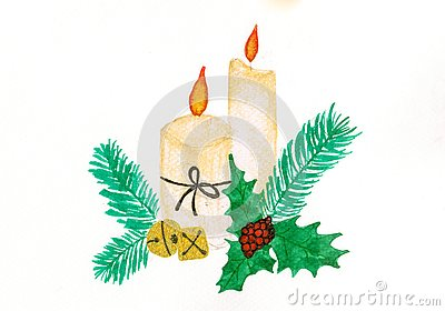Christmas candles glowing among conifer branches and gold bells Stock Photo