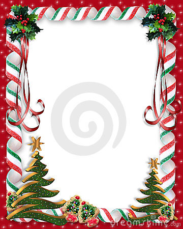 Free Christmas Candy And Holly Border Stock Images - 6465644