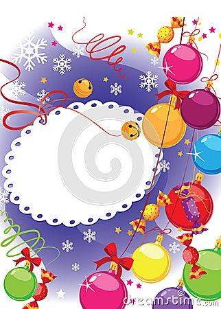 Christmas candy and balls postcard