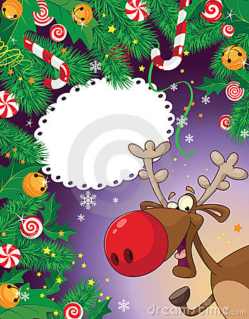 Christmas candy card and deer