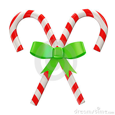 Christmas Candy with Green Bow  on white b
