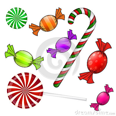 Free Christmas Candy Set. Colorful Wrapped Sweet, Lollipop, Cane. Vector Illustration On A White Background. Stock Image - 62098351