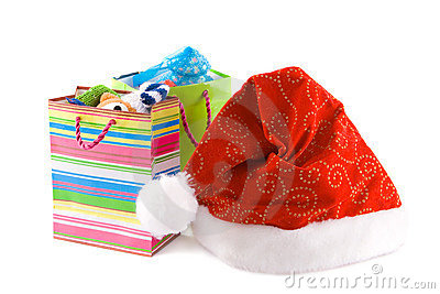 Christmas cap and  packages with gift
