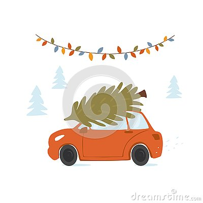 Christmas car driving home for xmas with pine tree on a roof top Vector Illustration